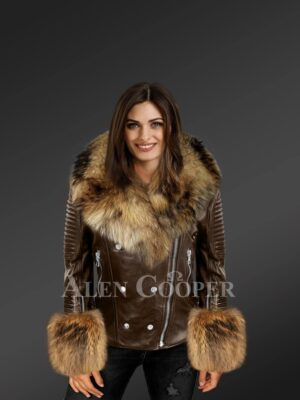 Women's Leather Biker Jacket With Raccoon Fur Collar Lapels And Cuffs