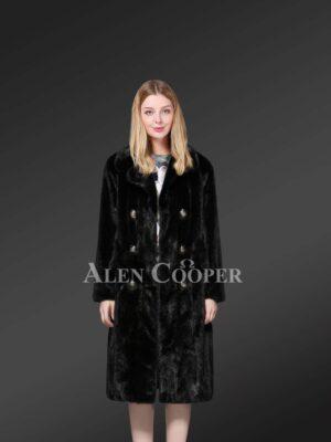 Double Breasted Mink Fur Coat For Elegant Women