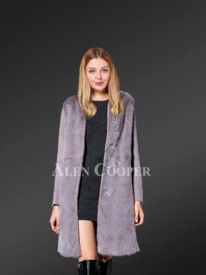 Double-Faced Woolen Coat With Mink Fur Trim