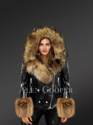 Exotic Black Leather Jacket With Fox Fur Hood Lapels And Cuffs