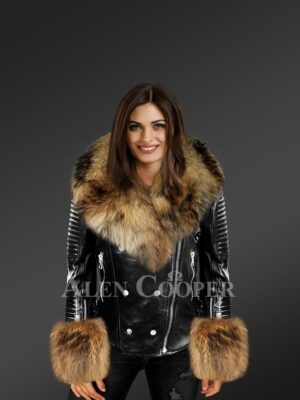 Women's Black Leather Jacket With Fox Fur Collar Lapels And Cuffs