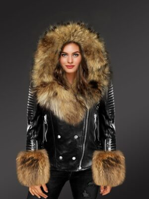 Exotic Black Leather Jacket With Raccoon Fur Hood Lapels & Cuffs