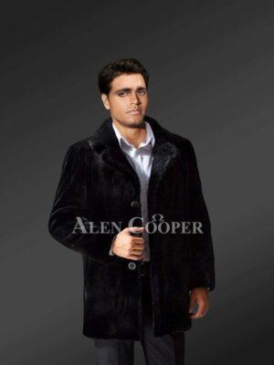 Exotic Black Mink Fur Coat For Men