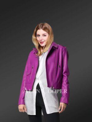 Genuine leather jackets in purple for tasteful women