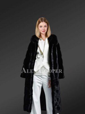 Hooded Black Mink Fur Long Coat For Elegant Women