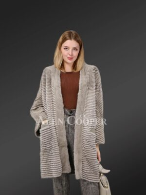 Knitted Mink Fur Cardigan For Women