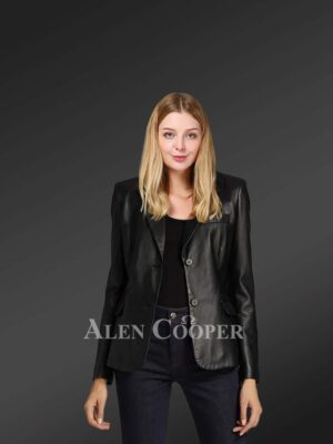 Ladies' black leather blazer for greater charm and appeal