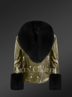Leather Biker Jacket With Fox Fur For Women