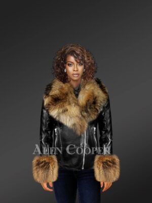 Leather Jacket With Detachable Fox Fur Hood And Cuffs