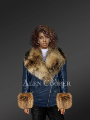Leather Moto Jacket With Striking Fox Fur Collar And Cuffs