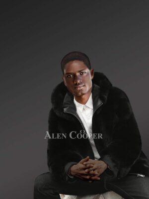 Men's Hooded Fox Fur Coat In Black
