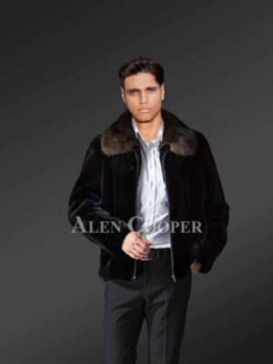 Mens Mink Fur Jacket With A Striking Collar