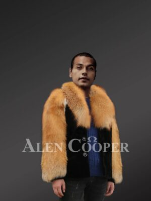 Mens Mink Fur Jacket With Golden Fox Fur Collar And Sleeves