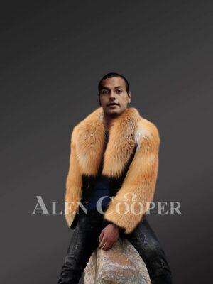 Men's Mink Fur Jacket With Golden Fox Fur Collar And Sleeves view