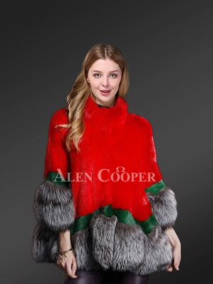 Mink Fur Cape Style Jacket With Silver Fox Fur Trim