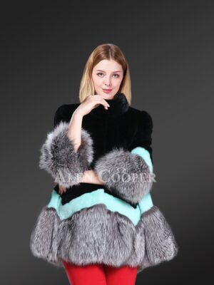 Mink Fur Cape Style Jacket With Silver Fox Fur Trim In Exotic Black