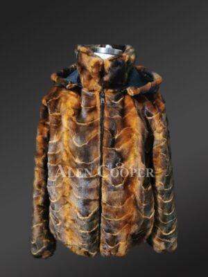 Mink Fur Jacket With Hood For Men