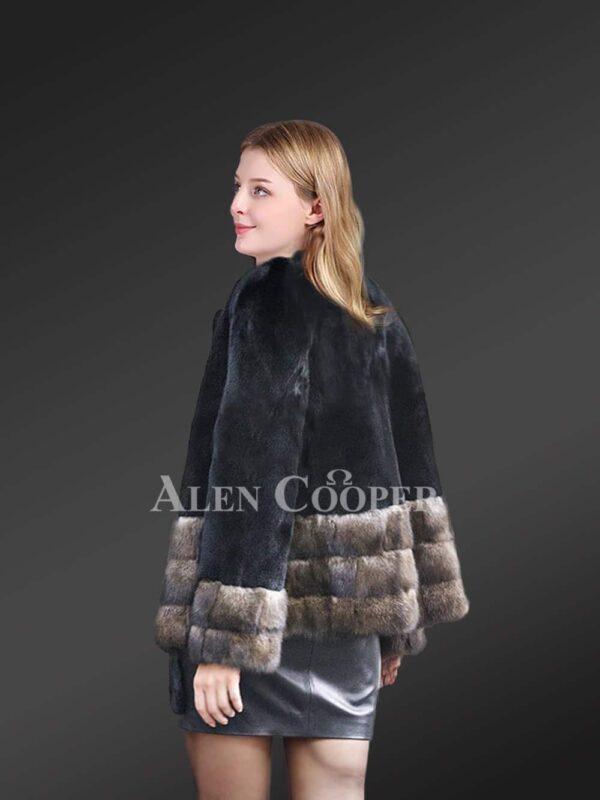 Mink Fur Jacket with Sable Fur Trim back view