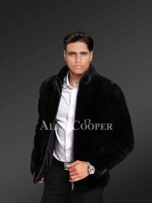 Mysterious Black Mink Fur Jacket For Men