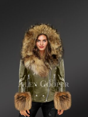 Olive Leather Jacket With Fox Fur Hood And Cuffs