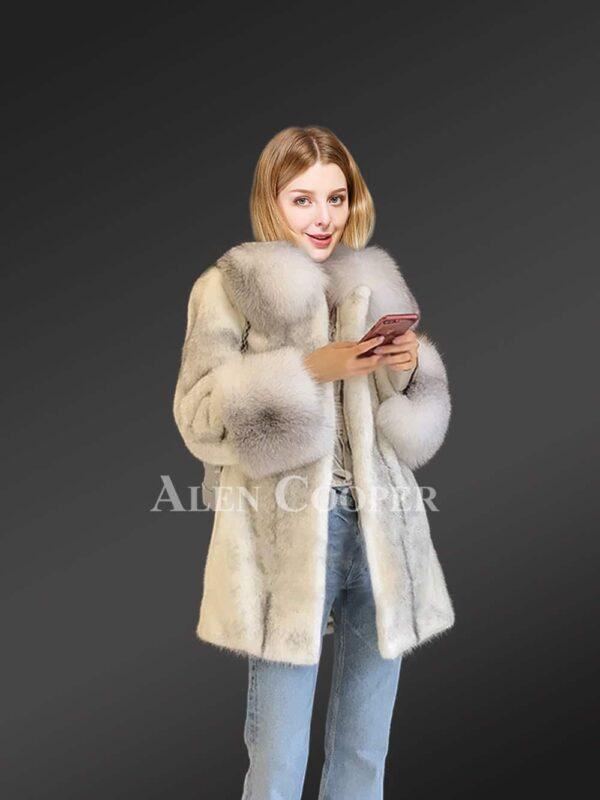 Silver-Cross Mink Fur Coat with Shadow-Blue-Frost Fox Fur Trim
