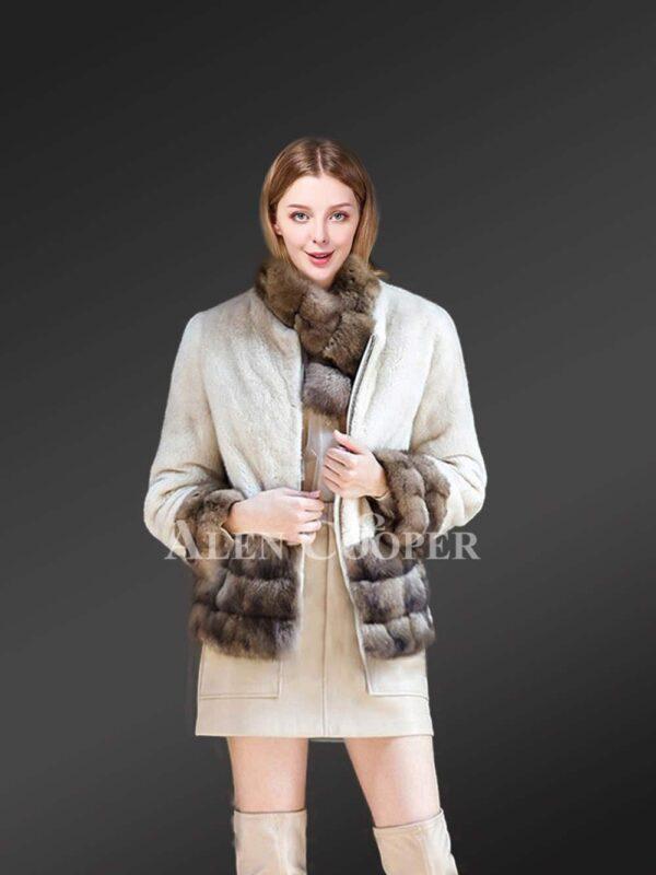 White Mink Fur Jacket With Sable Fur Trim for women