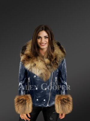Women's Leather Biker Jacket With Fox Fur Collar, Lapels And Cuffs