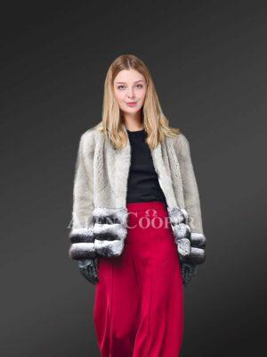 Women's Mink Fur Jacket With Chinchilla Fur Trims