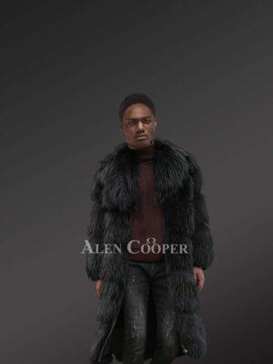 Black Raccoon Fur Long Coat For Men