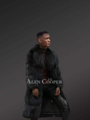 Black Raccoon Fur Long Coat For Mens