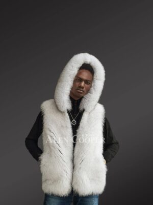 Blue fox fur mens vest with hood side view
