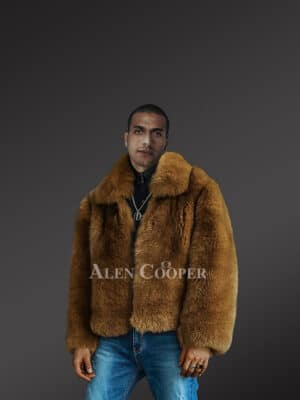 Classic Brown Fox Fur Bomber Jacket For Men