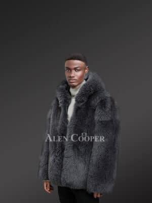 Exotic Black Men's Fox Fur Coat