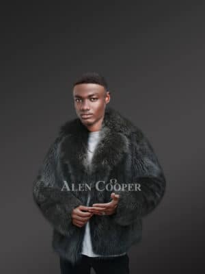 Passionate Men's Black Raccoon Fur Coat with Wide Notched Lapels