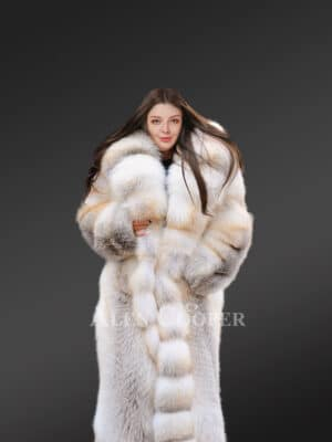 Arctic Golden Fox Fur Long Women's Coat