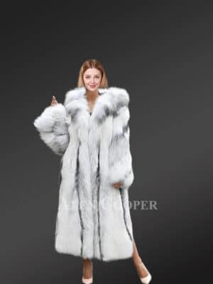 Cross Fox Fur Long Coat