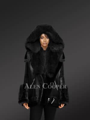 Exclusive Black Shearling Jacket With Fox Fur Hood Lapels And Cuffs For Women