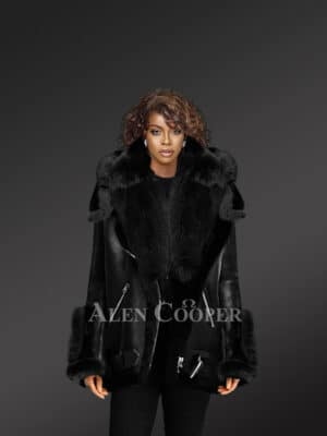 Exclusive Black Shearling Jacket With Fox Fur Hood Lapels And Cuffs For Womens