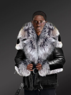 Exclusive Men's Shearling Jacket With Silver Fox Fur Lapels Cuffs And Hood