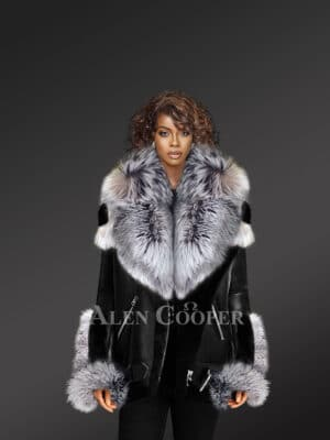 Exclusive Shearlingjacket For Women With Silver Fox Fur Hood Lapels And Cuffs