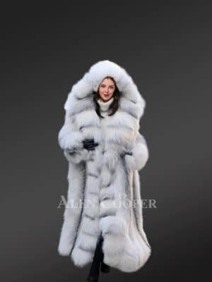 Frost Fox Fur Tuxedo Coat for Womens