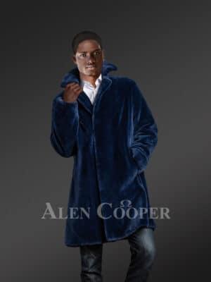 Full Skin Mink Coat for Men in Blue