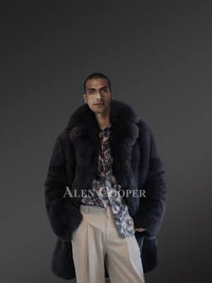 Full Skin Real Fox Fur Trench for men