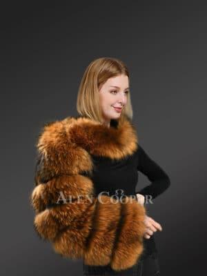 Genuine Raccoon Fur Collar Scraf with Sleeve
