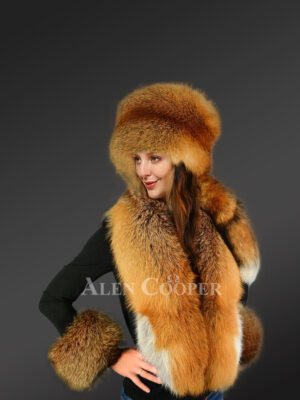 Genuine Red Fox Fur Collar with Russian Hat and Cuff Set