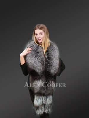 Genuine Silver Fox Fur Collar Scarf