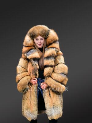 Glacier Golden Fox Fur Coat with Hood for women