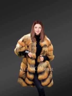 Glacier Golden Island Fox Fur Coat for women