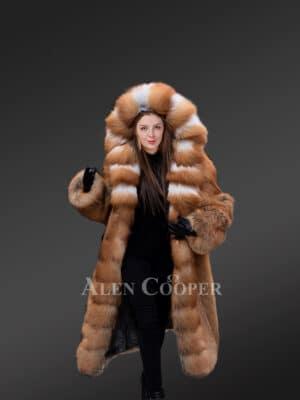Long Length Red Fox Fur Tuxedo Coat
