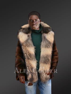 Men's Full Skin Mahagony Mink Parka Style Jacket